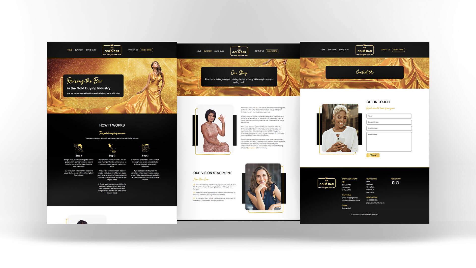 The Gold Bar Website Design